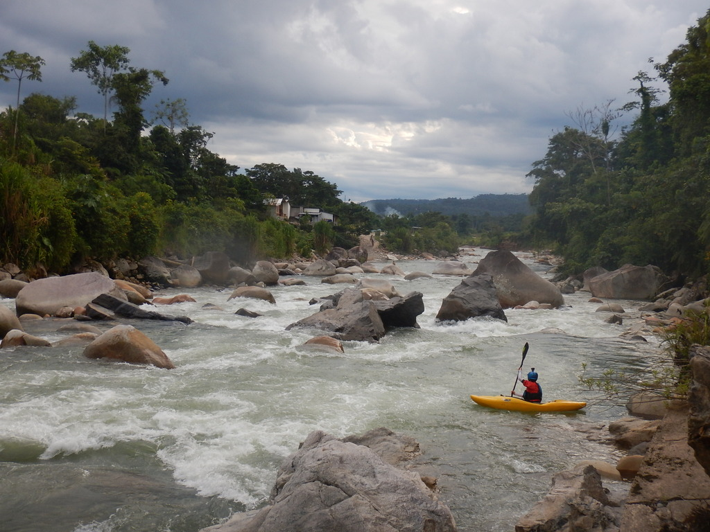 A stout rapid at the end of the El Reten section of the Rio Misahualli