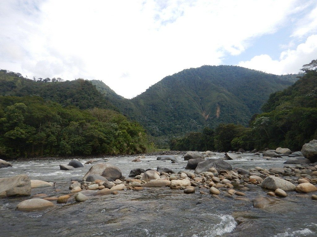 Looking upstream into the Rio Quijos.