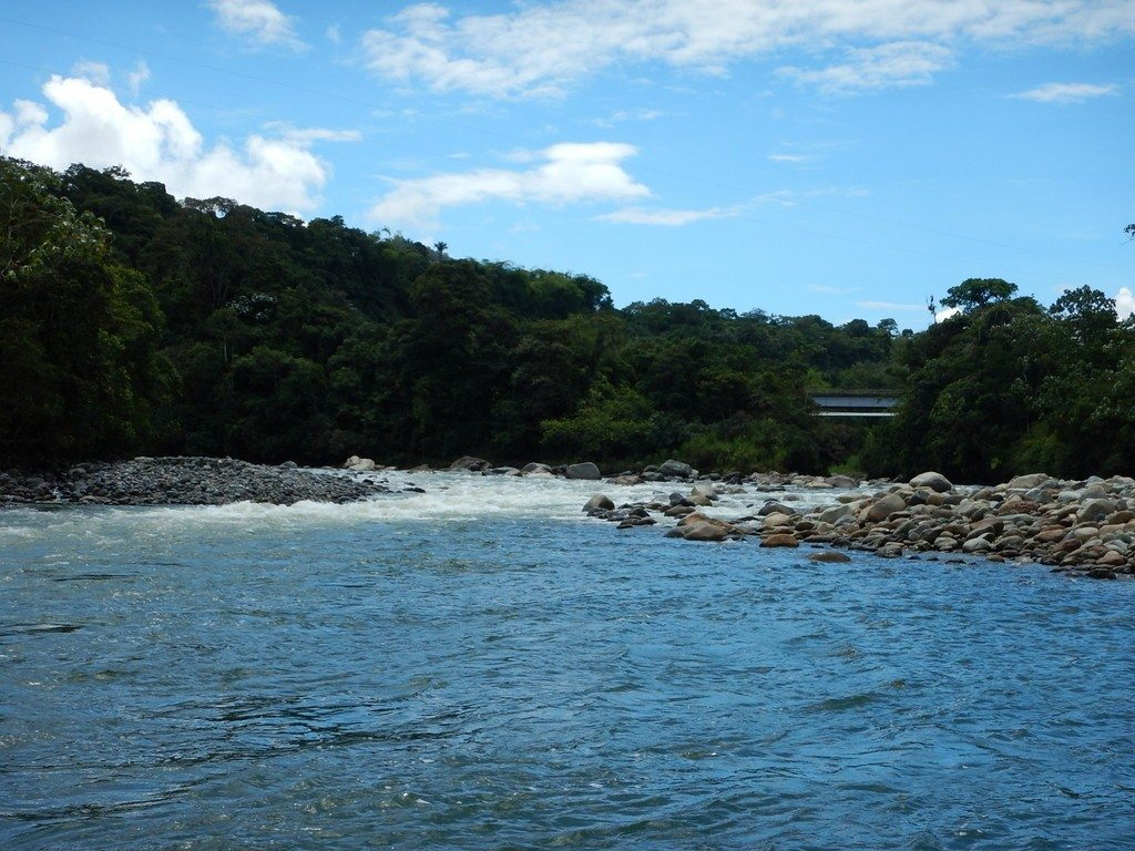 Looking upstream on the Rio Quijos from below the Rio Oyacachi confluence. That is the bridge over the Oyacachi on the right.